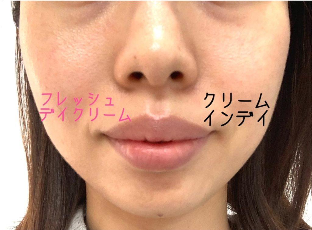 クリームインデイとフレッシュデイクリームを顔で半顔づつ比較